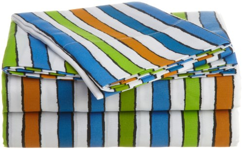 Martex 1A02275 Fun Stripe Kids Sheet Set, Multi back-864066