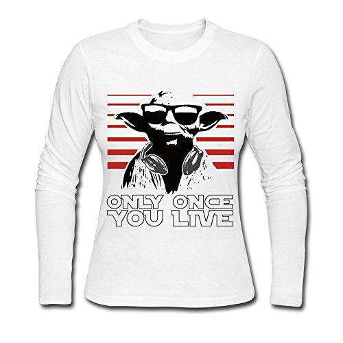 Clothing Women's KCCO STARWARS Yoda OOYL Funny Long Sleeve T-shirt Small White (Yoda Bowl)