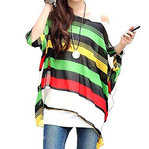 Camicetta Chiffon Donna - Feelme Blusa Donna Maglietta Manica 3/4 Bohemian Lunga Estate T Shirt con Stampa (Boho-09)