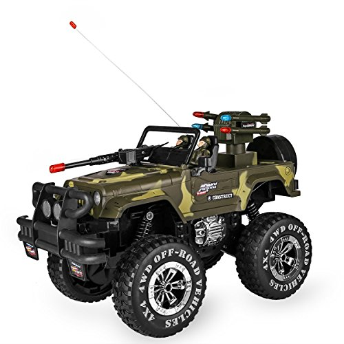 SZJJX 1:10 Remote Control Car 4WD Shaft Drive Truck Large Four-wheel Drive Remote Super Off-road racing Toy Radio Controlled rc Chargeable Off-road Rock Crawler(MYX-301 Vehicle Camouflage) (Remote Trucks compare prices)
