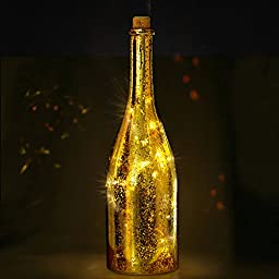 BRIGHT ZEAL LED Champagne Bottle Lights with Starry String Lights in Real Life Size (11.6\