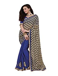 Indian Women Faux Georgette Resham And Patch Work Saree With Unstitched Blouse Piece (Black And Blue)