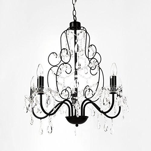 [lux.pro] Lampadario a corona lampadario nero (5 x E14 base) 60 cm cristallo 5-fiamme