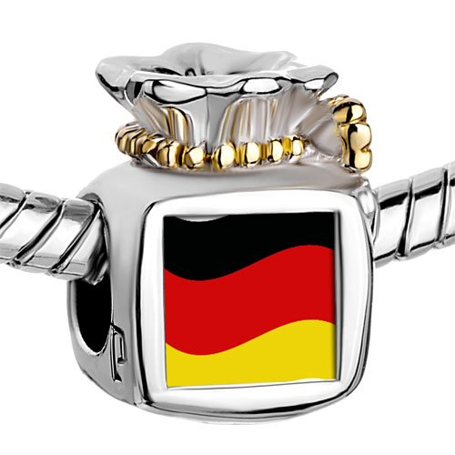 Pugster Two Tone Money Bag Germany Flag photo Beads Fits Pandora Charm Chamilia Biagi Bracelet