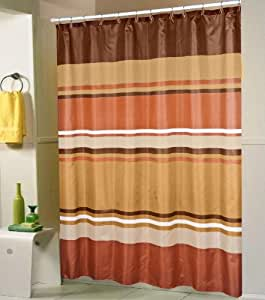 Jada Orange Brown Gold Stripes Shower Curtain 70x70 Home Kitchen