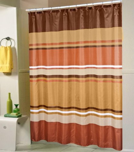 Jada Orange Brown Gold Stripes Shower Curtain 70x70