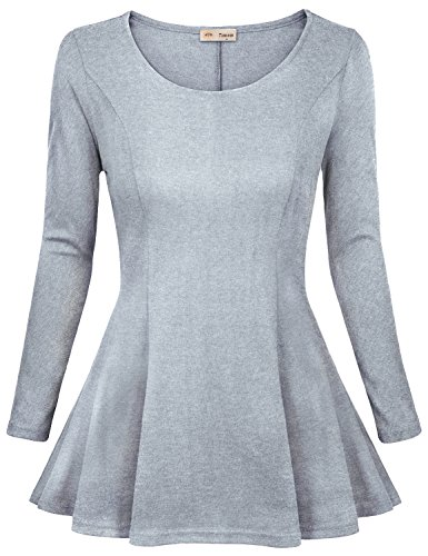 Casual Dresses for Juniors,Timeson Womens Sleeveless Crewneck Simple Ruched Waist Designed Skirt Dress Tunic Tee Large Light Grey