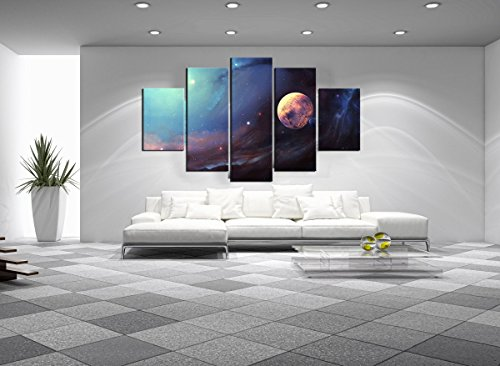 5-Panels-Modern-Moon-Space-Scenery-Oil-Painting-On-Landscape-Canvas-Print-Home-Wall-Decor