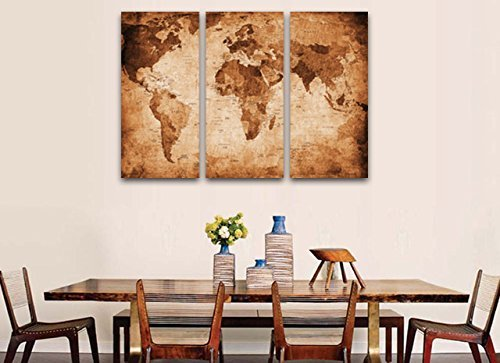 Art Wall Decor Large World Map Print On Canvas - Large framed magnetic world map