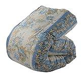 東京西川 羽毛布団 シングル ホワイトダックダウン85% 日本製 抗菌防臭 花柄ストライプ ブルー KA06002058B2