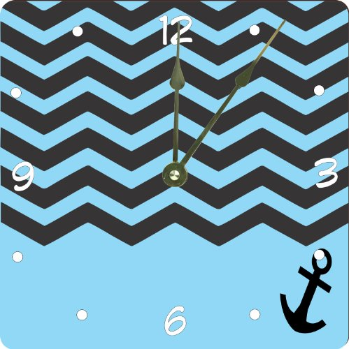 "Rikki Knighttm 3D Chevron Black On Sky Blue With Anchor Design 8"" Art Wall Clock front-618811"