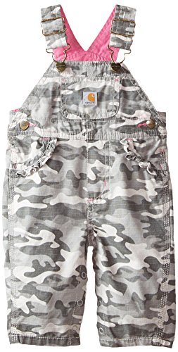 Carhartt Baby Girls' Grey Camo Ripstop Overall, Heather, 6 Months