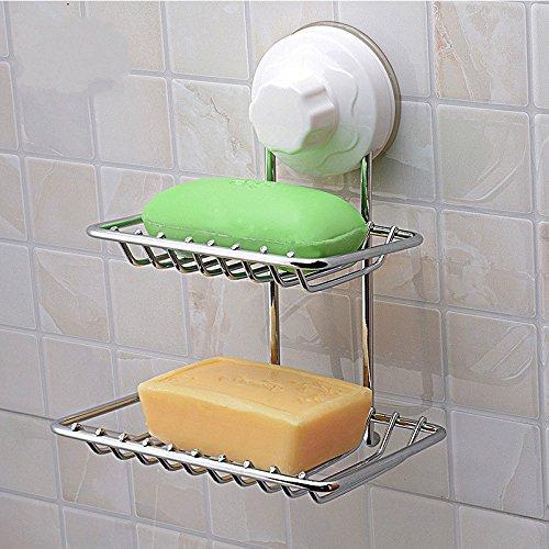 Aspirante tazze Rack, GETALL in acciaio inox bagno Ventose deposito cestello gancio, cucina e bagno placca a parete rettangolare cestello (portasapone)