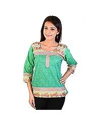 Jaipur RagaFloral Design Embroidery Sea-Green Cotton Top Green Girls Kurti