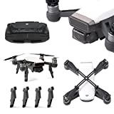 Rantow for DJI Spark Drone Parts Accessories Protector Set, Gimbal Camera Lens Cap Guard + Joysticks Protector + Height Extender Landing Gear + Propeller Props Clip Blades Protector