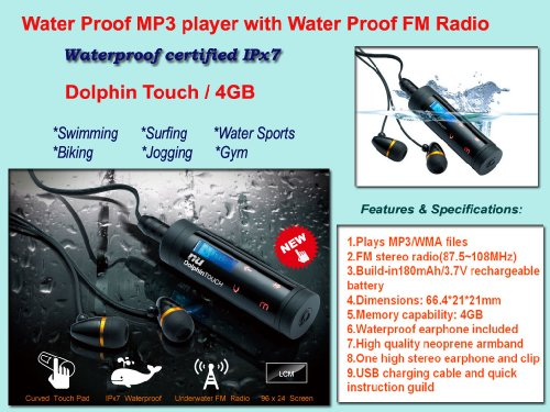 Dolphin Touch waterproof mp3 & FM radio player