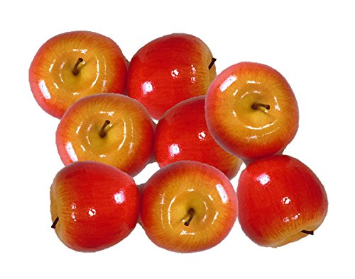 Artificial Bright Red Apples for Decoration - Set of 8