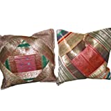 2 Red Pink Green Ethnic Vintage Sari Zari Borders Toss Pillow Cushion Coversby Mogulinterior