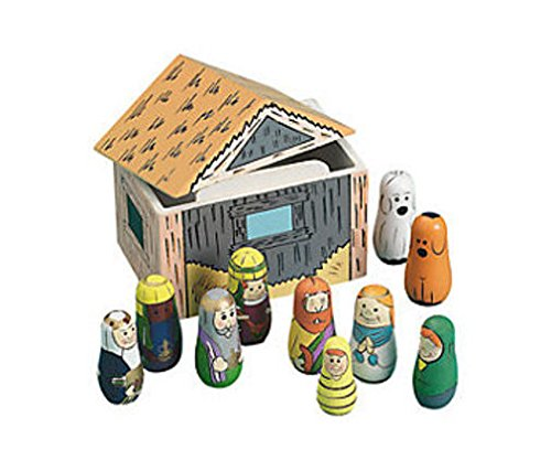 Religious Christmas Wood Nesting Nativity Manger & Dolls 11pc Set