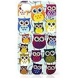 CASEiLIKE ® - Multi Owl Grafik - Snap on Koffer zurück-BABY BLUE cover für Apple iPhone 4 / 4S / 4 G / 4GS - mit Displayschutzfolie (vorne und hinten)