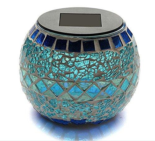 Sunnytech® Solar Mosaic Jar Color-changing Glass LED Light Bedroom Garden Yard D020