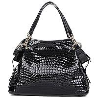 PASTE Women's Fashion Designer Split Leather Crocodile Grain Tote Cross Body Shoulder Bag Handbag Black
