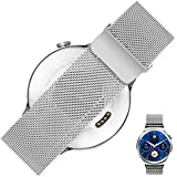 Rerii 18mm Width Magnetic Milanese Loop Stainless Steel Watch Band Strap with Megnet Closure Lock for Huawei Watch 2015
