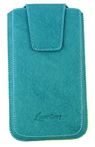 Emartbuy® HTC Desire 620 / 620 Dual Sim Classic Blue Luxury PU Leather Slide in Pouch Cover (4XL) With Magnetic Flap & Pull Tab