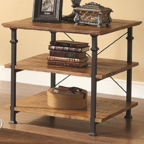 Cheap Coaster Distressed Wood Brown And Black End Table (B009087ZGA)