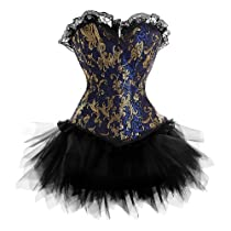 A3009S013 - Blue and Gold Corset with Tutu