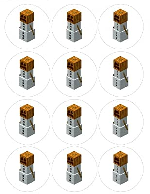 Single Source Party Suppies - 25 Minecraft Cupcake Edible Icing Image Toppers 1 by Single Source Party Supplies