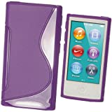 IGadgitz Dual Tone Purple Durable Crystal Gel Skin (TPU) Case Cover for Apple iPod Nano 7th Generation 7G 16GB + Screen Protector