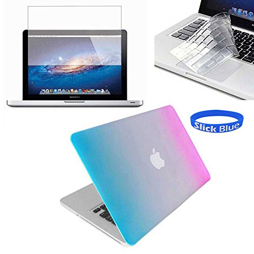 "Slickblue (Tm) Macbook-Pro-13"" (A1278) Rubberized Hard Case With Keyboard Skin & Screen Protector - Rainbow front-593216"
