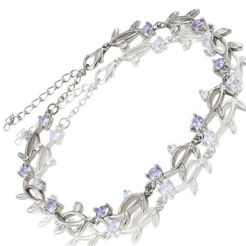 Rizilia Xmas Gift Jewellery Round Cut Tanzanite Cubic Zirconia CZ 18K White Gold Plated Bracelet