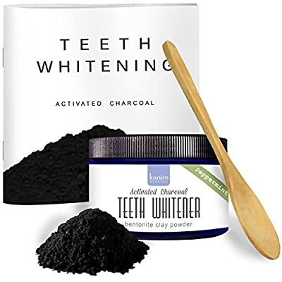 Activated Charcoal Natural Teeth Whitening Powder - Peppermint Flavored 4 oz | Use Tooth powder as or with Toothpaste | With Detoxifying Bentonite Clay | Wooden Spoon | FREE Booklet