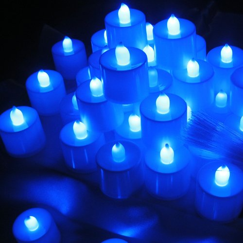 Led-Cube® New Led Tea Light Wedding Party Flameless Candle,White With Amber Flame,Battery Operated Flickering Tealights, Wedding Floral Decoration Party Tea Light (20, Blue)