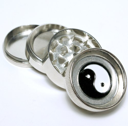 "Yin Yang design 2"" wide 4parts Metal herb tobacco grinder,"