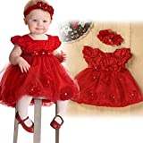 TRENDINAO Baby Girls Red Lace Princess Headband Dresses For Christmas/New Year