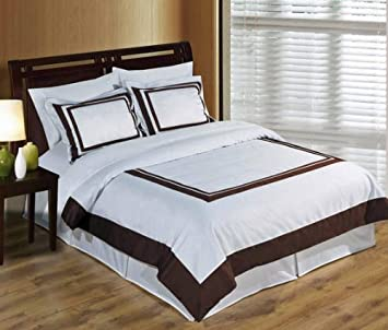 sheetsnthings 4PC Full/Queen size White with Chocolate Hotel bedding set including 3pc duvet cover set+ 1 pc Down Alternative Comforter at Sears.com