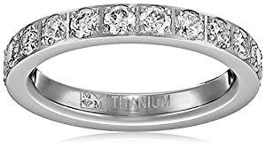 3MM Ladies Titanium Eternity Engagement Band, Wedding Ring with Pave Set Cubic Zirconia Size H 1/2