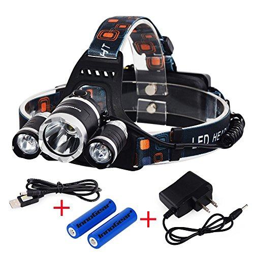 InnoGear® 5000 Lumen Bright Headlight Headlamp Flashlight Torch 3 CREE