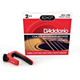 D'Addario EXP17 Bonus 2 Pack with Red NS Capo Lite, Medium, 13-56