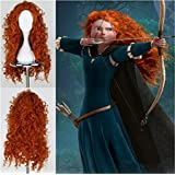 Worldflying®pretty Popular Brave Merida New Long Orange Curly Cosplay Party Wig Orange Wig (Color: as the pictures, Tamaño: one fit more)