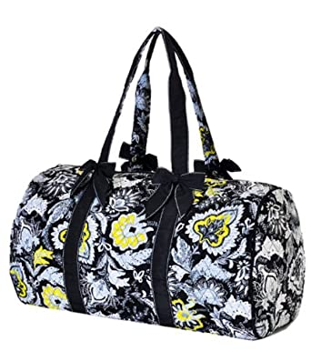 "Lar Lar Quilted Floral Large 21"" Duffle Bag (Black/White/Yellow)"