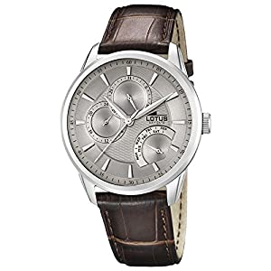 Lotus 15974-2 Mens Grey and Brown Leather Multifunction Watch