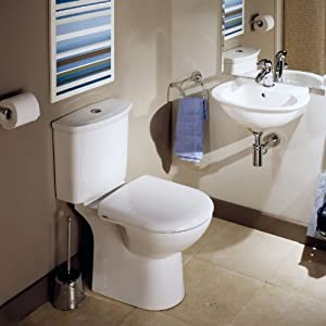 Modern Grice Bathroom Cloakroom Suite Soft Close Seat Ceramic Toilet WC and Basin Sink Set       Customer reviews and more information