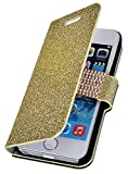 myLife (TM) Bright Gold {Glitter Passion and Buckle Design} Faux Leather (Card, Cash and ID Holder + Magnetic Closing) Slim Wallet for the iPhone 5C Smartphone by Apple (External Textured Synthetic Leather with Magnetic Clip + Internal Secure Snap In Hard Rubberized Bumper Holder + Lifetime Warranty)