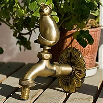 "Greenspring Fat Cat Decorative Antique Brass Garden Outdoor Faucet - With a Set of Brass Quick Connecter for 1/2"" Inches Hose"