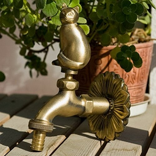 Greenspring Fat Cat Decorative Antique Brass Garden Outdoor Faucet - With a Set of Brass Quick Connecter for 1/2