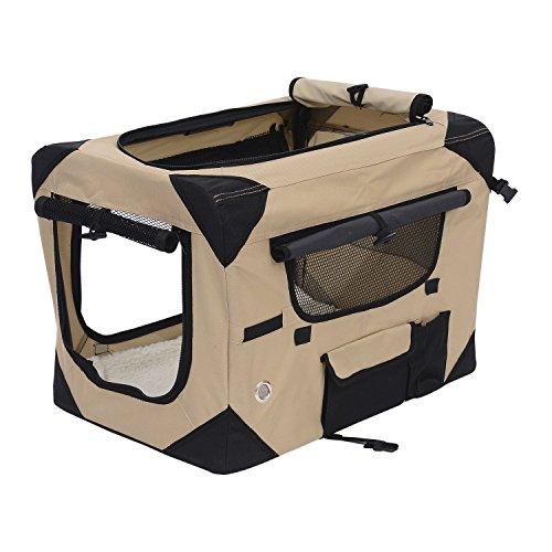 Pawhut 32″ Soft Sided Folding Crate Pet Carrier – Khaki